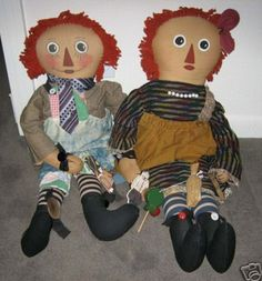 antique toys   Raggedy Ann & Andy dolls artist with antique toys - For Sale