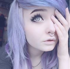 @milkwhore - instagram, purple hair, septum, alternative, pastel, scene, emo