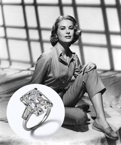 Grace Kelly, Princess of Monaco The Ring: A platinum Cartier carat emerald-cut diamond with two baguette diamonds on each side. Grace Kelly Engagement Ring, Royal Engagement Rings, Grace Kelly Wedding, Grace Kelly Style, Celebrity Engagement Rings, Wedding Rings, Solitaire Engagement, Wedding Stuff, Celebrity Rings
