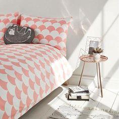 Parure de lit motif festons pêche - Urban Outfitters