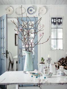 Blue doors, planked walls & ceiling, vintage window