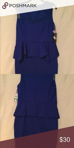 Lovely Peplum Dress with Sheer Neck Detail This NWT Cobalt Blue Peplum Dress is perfect for an evening out to dinner or church. Knee length  slim skirt design. Sleeveless with a sheer neck design that is attractive. Thalia Sodi Dresses