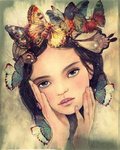 young girl with blue butterflies by claudiatremblay on Etsy Butterfly Art, Flower Art, Portrait Art, Portraits, Claudia Tremblay, Whimsical Art, Oeuvre D'art, Female Art, Collage Art