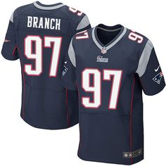 NFL New England Patriots Alan Branch Mens Elite Home Navy Black #97 Jersey