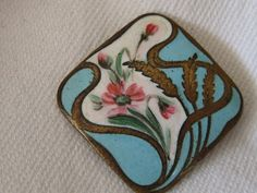Antique Square Art Nouveau Flower Enamel BUTTON