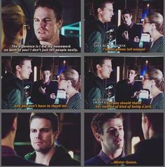 """Arrow - Barry, Felicity & Oliver #2.9 #Season2. Another great moment. """"Mister Queen"""""""