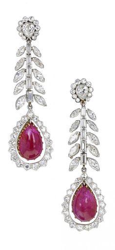 A pair of Art Deco platinum, Burmese ruby and diamond earrings, 1920s.