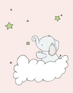 Custom Listing for Betsy, Nursery Art, Elephant Nursery Art, 11x14 Nursery Decor, Elephant Art Print, Baby Elephant Stars, Children Art
