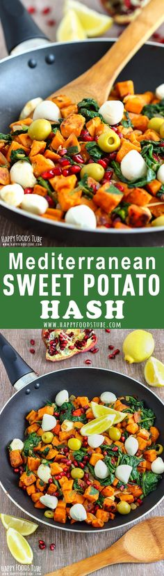 This Mediterranean Sweet Potato Hash is bursting with Mediterranean flavors. Easy one-pan meal with pomegranate, mozzarella, spinach and olives! Perfect for breakfast, lunch, brunch, breakfast for dinner. #sweetpotato #potatohash #breakfasthash via @happyfoodstube