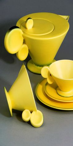 Margarete Heymann-Marks Löbenstein, Art Deco Tea Set, Manufactured by Haël Werkstätten Germany, c. 1930