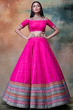 VVANI BY VANI VATS Featuring a multi colored lehenga skirt in raw silk base with striped embroidery. It is paired with a matching off shoulder blouse. Lehenga Choli Designs, Lehenga Skirt, Lehnga Dress, Punjabi Dress, Lehenga Blouse, Silk Lehenga, Blouse Dress, Anarkali, Indian Bridal Outfits