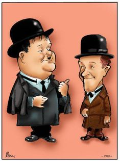 Laurel and Hardy by Fernando Llera, via Behance Laurel And Hardy, Stan Laurel Oliver Hardy, Classic Cartoon Characters, Classic Cartoons, Famous Duos, Comedy Duos, Classic Comedies, Celebrity Caricatures, People Illustration