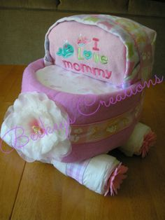 Diaper Carriage Cake by BeckeysCreations on Etsy