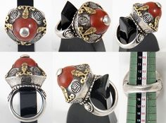 5642:1144 Carnelian Ring Central Asia by ann porteus, Sidewalk Tribal Gallery, via Flickr This collection of rings are recently made using fragments of old silver jewellery. Most have simply had a ring band attached to the back while some have been made by cutting the shape from an old silver object.