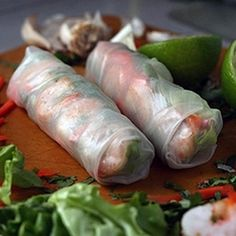 Vietnamese Spring Rolls; stuffed with succulent shrimp, vibrant mint, rice noodles and served with traditional nuoc cham dipping sauce, these are perfect appetizers!