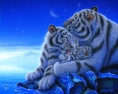 """Tresure"" White Tigers   27.3 × 22.0cm, Acrylic on canvas, 2011, Private Collection  Gallery Bigcats2 - Art of Kentaro Nishino"