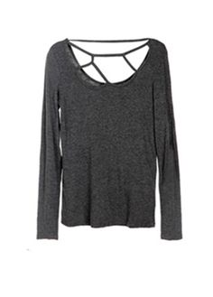 Dark-grey Long Sleeve Skinny T-shirt with Cut Out Neck. This could possibly be DIY . . .