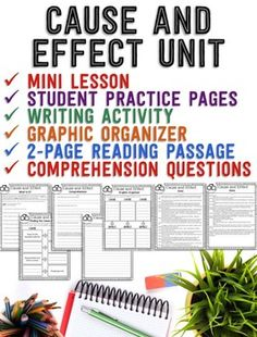 ***FREEBIE*** This Cause and Effect freebie is the perfect way to teach this reading comprehension strategy!  This includes a *Mini Lesson* *Practice Page* *Graphic Organizer* *Writing Prompt* *2-Page Reading Passage* *Comprehension Questions*