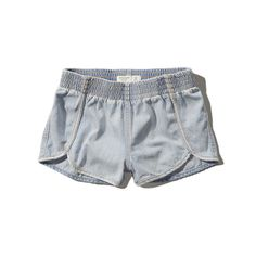 Abercrombie & Fitch High Rise Jogger Short ($16) ❤ liked on Polyvore featuring shorts, light wash, vintage high waisted shorts, short shorts, high rise denim shorts, vintage denim shorts and abercrombie & fitch