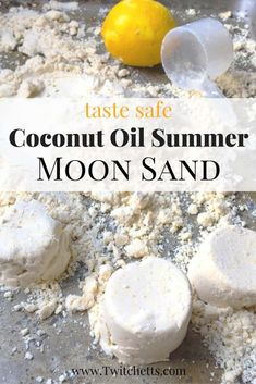 How to make fun moon sand with coconut oil - Twitchetts Whether you call it moon sand, cloud dough, or kinetic sand this recipe is perfect! It is taste safe coconut oil moon sand. We added a fun summer twist as well! Toddler Play, Toddler Crafts, Diy Crafts For Kids, Kids Diy, Toddler Games, Quick Crafts, Toddler Stuff, Craft Ideas, Children Crafts