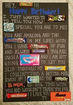 Gift For Boyfriend Birthday Candy - Gift Birthday Candy Posters, Candy Birthday Cards, Cute Birthday Gift, Birthday Diy, Happy Birthday, Birthday Ideas, Surprise Birthday, Birthday Presents, Birthday Nails