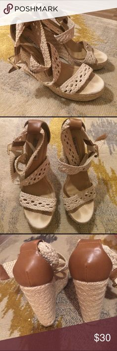Summer time shoes!! Wedges- the straps wrap around the ankle. Can't you see yourself by a pool in these babes while drinking a margarita? Steve Madden Shoes Wedges