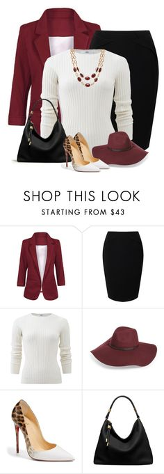 """""""Burgundy office look"""" by kamkami ❤ liked on Polyvore featuring Jacques Vert, Allude, Halogen, Christian Louboutin, Michael Kors and Talbots"""