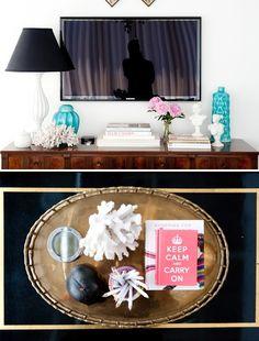 arranging around/under tv