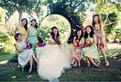 Flowered tea length dresses