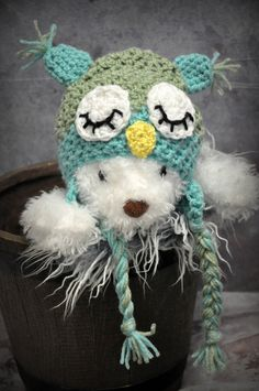 Sleepy Owl Baby Hat by JLloPhotographyProps on Etsy, $24.99