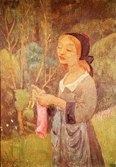 Paul Serusier - Young Girl with a Pink Stocking or Young Breton Knitting, 1920