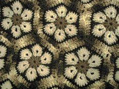 Crochet African Flower  Afghan.  No pattern but love the colour combo