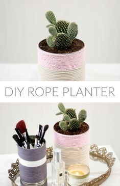 Perfect DIY planter for cacti and succulents. In love with how this turned out using only a tin can and some rope or string.