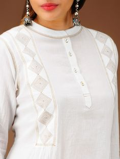 Buy Ivory Band Collar Flared Cotton Tunic Apparel Accessories Fabric & More Online at Jaypore.com New Saree Blouse Designs, New Kurti Designs, Salwar Designs, Kurta Designs Women, Neckline Designs, Dress Neck Designs, Collar Kurti, Kurti Neck, Embroidery Suits Design