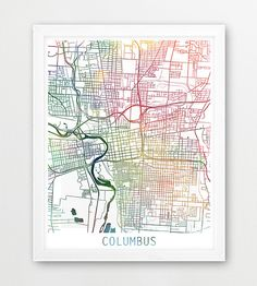 Columbus artistic blueprint mapby christopher estes pinterest columbus city urban map poster columbus city street print watercolor map columbus ohio modern wall art home decor travel printable art malvernweather Images