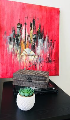 Fave find - an oil canvas of Toronto skyline Toronto Skyline, Baby On A Budget, Ikea Malm, Nightstand, Condo, Oil, Canvas, Painting, Decor