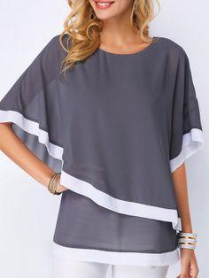Lossky Summer Casual Women's Chiffon Shirt 2019 Bat Sleeve Stitching Irregular Loose Chiffon Shirt Tops Women's Plus Size Blouse - blue XXXL Trendy Tops For Women, Blouses For Women, Looks Plus Size, Chiffon Shirt, Plus Size Blouses, Ladies Dress Design, Shirt Blouses, Casual Shirts, Lady