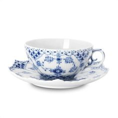 Royal Copenhagen Blue Fluted Full Lace 7.5 Oz Tea Cup and Saucer