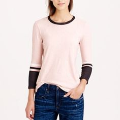 "Stripe-sleeve T-shirt Yep, we've done it again—we're reinventing the stripe T-shirt with an athletic twist. Cotton. Machine washable. Slightly loose fit. Body length: 22"" and 18"" underarm to underarm. Worn a couple of times and in great shape! J. Crew Tops Tees - Long Sleeve"