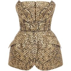 Alexander McQueen Black/Gold Bee Honeycomb Bombe Hip Bustier ($8,495) ❤ liked on Polyvore
