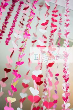 Paper Garland -Pink Hearts Decorations by ElegantPaperDecor on Etsy