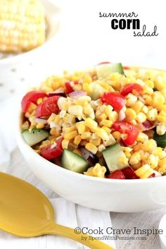 Summer Corn Salad!  This sweet corn salad is simply delicious and quick!  The perfect way to enjoy fresh summer corn and tomatoes.