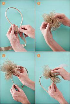 Supplies  plain, unadorned flat metal headband  one yard neutrally toned grosgrain ribbon  two yards gold metallic netting  white millinery feathers  fabric glue