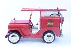 VINTAGE 1960'S TONKA PRESSED STEEL RED JEEP FIRE PUMPER CLEAN COMPLETE in Toys, Hobbies, Diecast Vehicles, Cars, Trucks & Vans | eBay