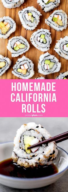 Roll + Spicy California Roll – カリフォルニアロール Homemade California Roll + Spicy California Roll - This is an easy sushi recipe for homemade California rolls and spicy Calfornia rolls. Learn how to make rolls with step by step images. Spicy California Roll, California Roll Recipes, How To Make California Rolls, California Spring Rolls Recipe, Seafood Recipes, Gourmet Recipes, Cooking Recipes, Baby Recipes, Gourmet Desserts