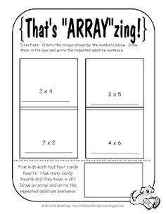 Here's a page for students to build arrays to practice multiplication concepts.