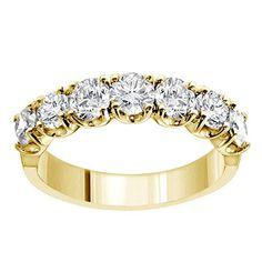1.50 CT TW Prong Set Round Diamond Anniversary Wedding Ring in 14k Yellow Gold
