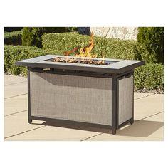 Cosco Outdoor Serene Ridge Aluminum Propane Gas Fire Pit Table, Brown