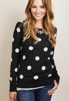 Polka dots + statement necklace + contrasting cami