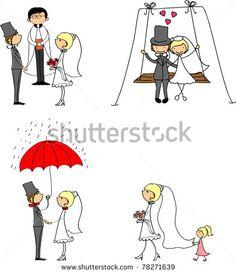 stock vector : wedding doodle set of bride and groom